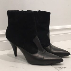 All Saints Black Leather & Suede Booties Size 36